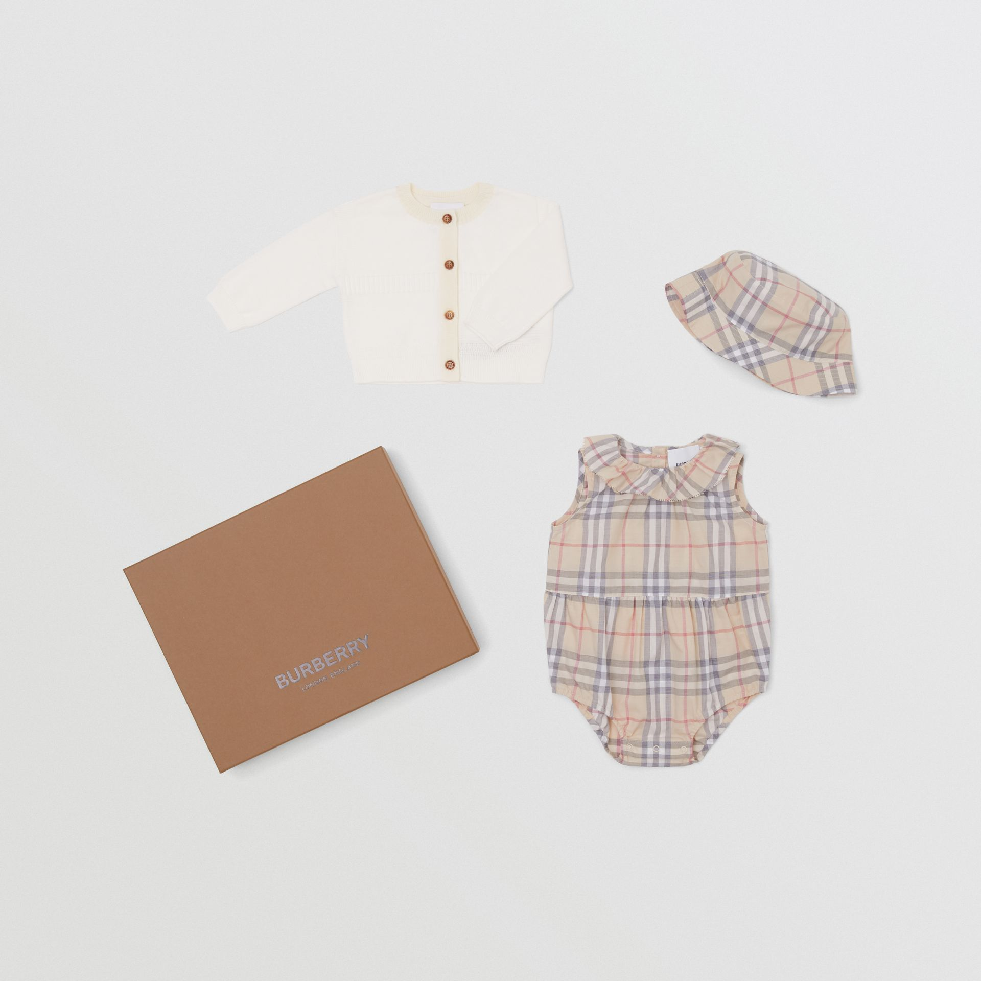 Vintage Check Cotton Three-piece Baby Gift Set in Pale Stone - Children | Burberry United States - gallery image 0