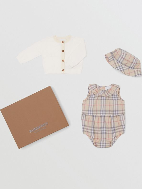 Vintage Check Cotton Three-piece Baby Gift Set in Pale Stone