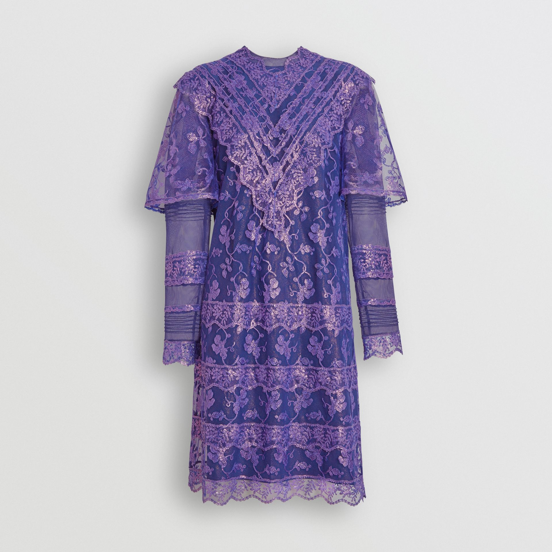 Laminated Lace Cape Sleeve Dress in Bright Purple - Women | Burberry - gallery image 3