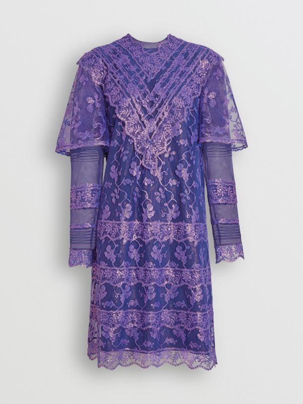 Laminated Lace Cape Sleeve Dress in Bright Purple - Women | Burberry - cell image 3