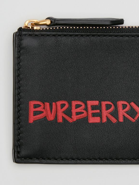 Graffiti Print Leather Zip Card Case in Black | Burberry - cell image 1