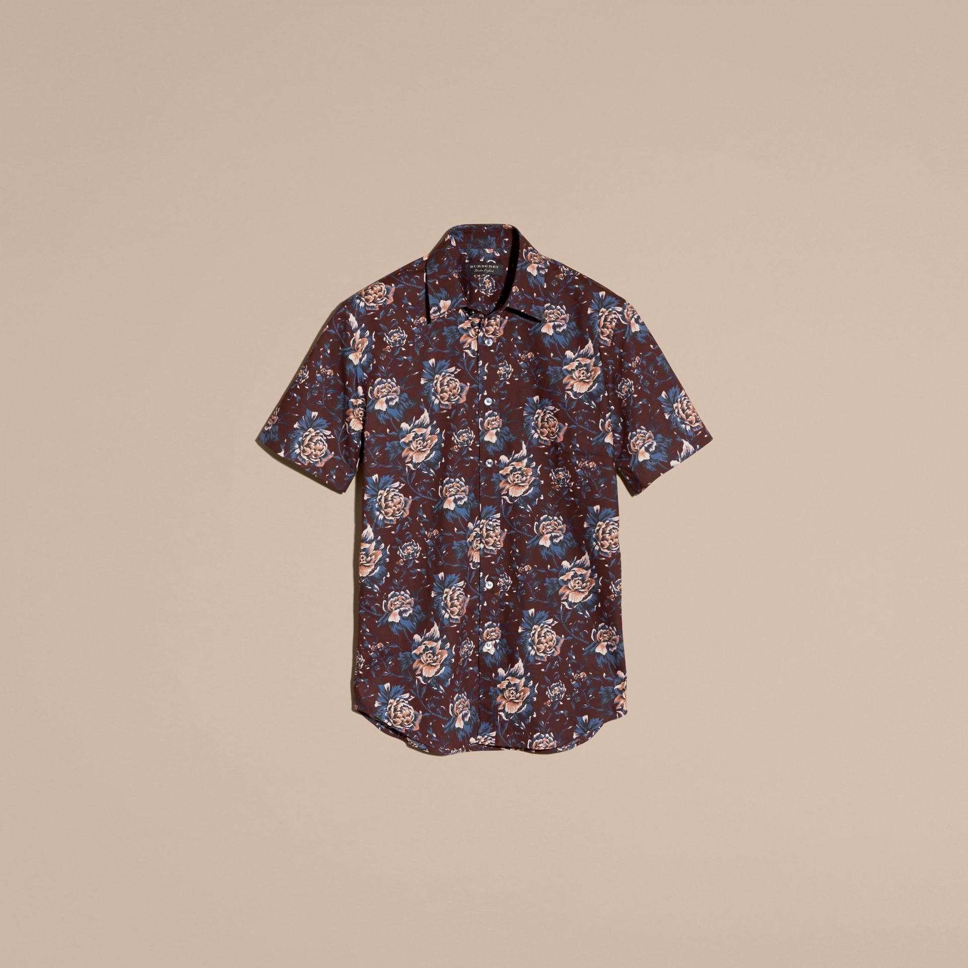 Deep claret Short-sleeved Peony Rose Print Cotton Shirt - gallery image 4
