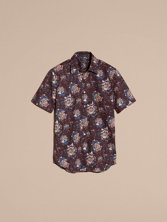 Deep claret Short-sleeved Peony Rose Print Cotton Shirt - cell image 3