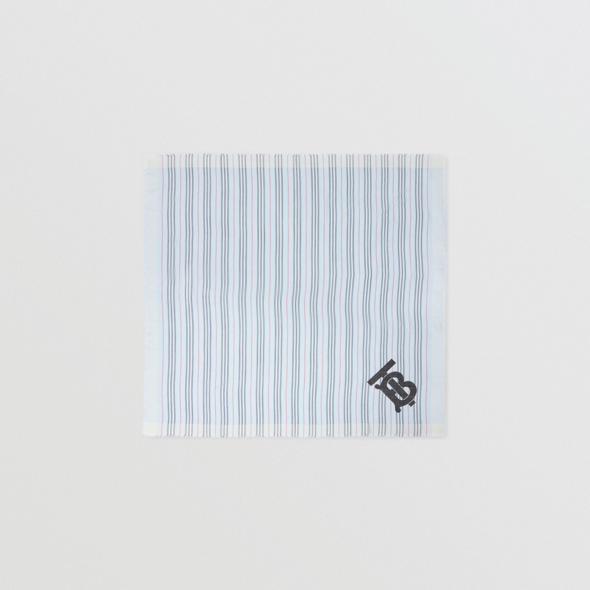 Monogram Icon Stripe Wool Silk Large Square Scarf in Pale Blue | Burberry - gallery image 0