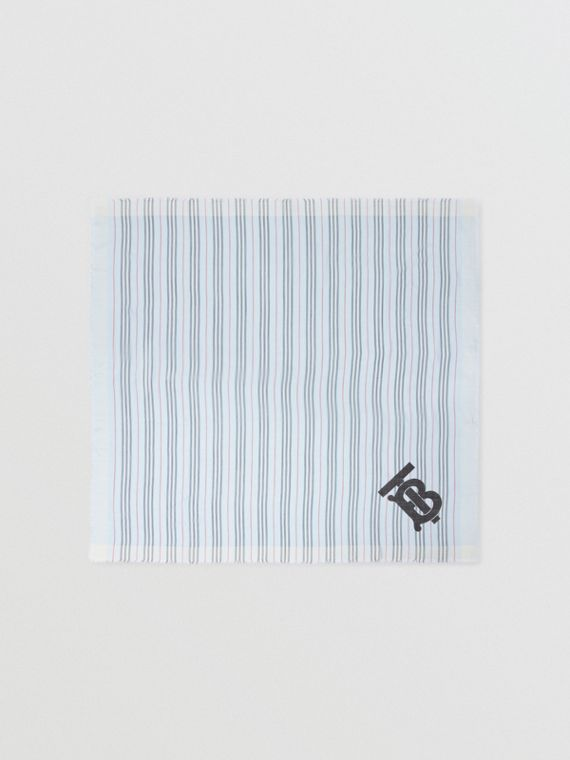 Monogram Icon Stripe Wool Silk Large Square Scarf in Pale Blue