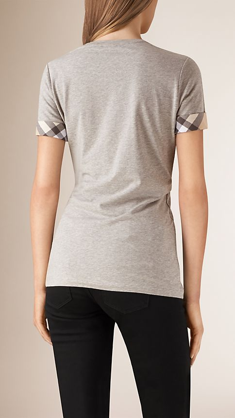Pale grey melange Check Cuff Stretch Cotton T-Shirt - Image 2