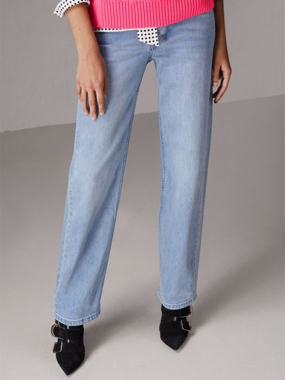 Straight Fit Stonewashed Jeans in Light Stone Blue - Women | Burberry - cell image 3