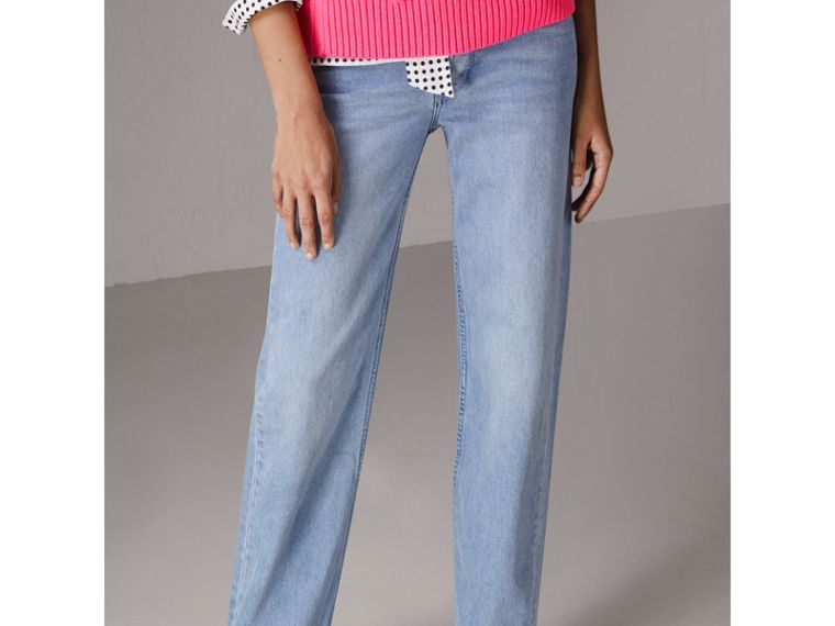 Straight Fit Stonewashed Jeans in Light Stone Blue - Women | Burberry - cell image 4