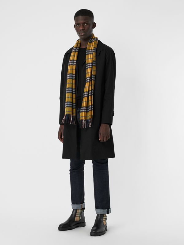 Check Cashmere Scarf in Amber Yellow | Burberry United Kingdom - cell image 3