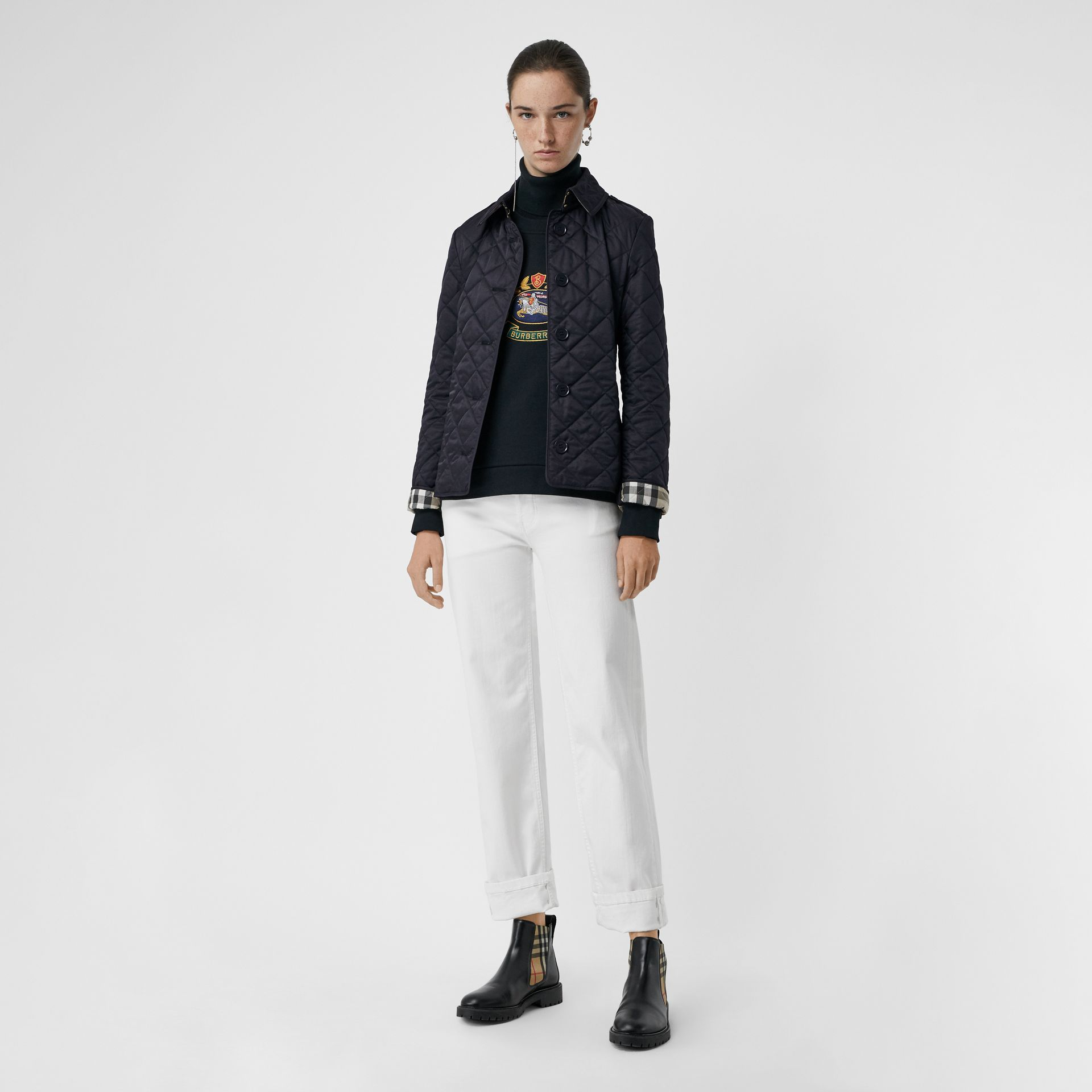 Diamond Quilted Jacket in Navy - Women | Burberry - gallery image 0
