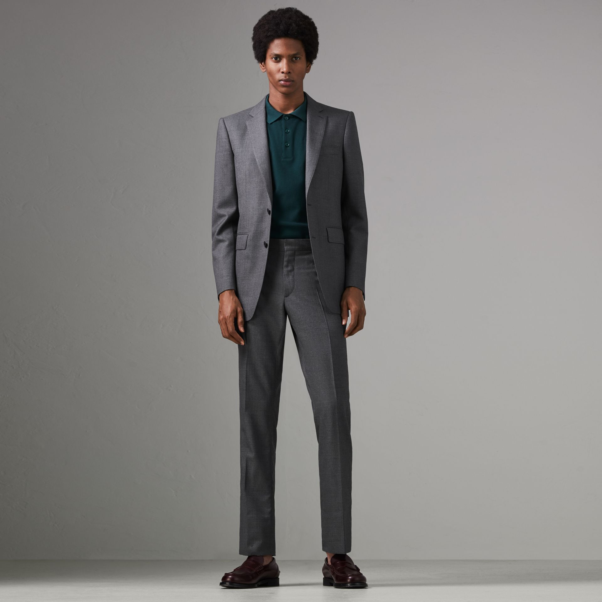 Modern Fit Sharkskin Wool Suit in Mid Grey Melange - Men | Burberry - gallery image 0