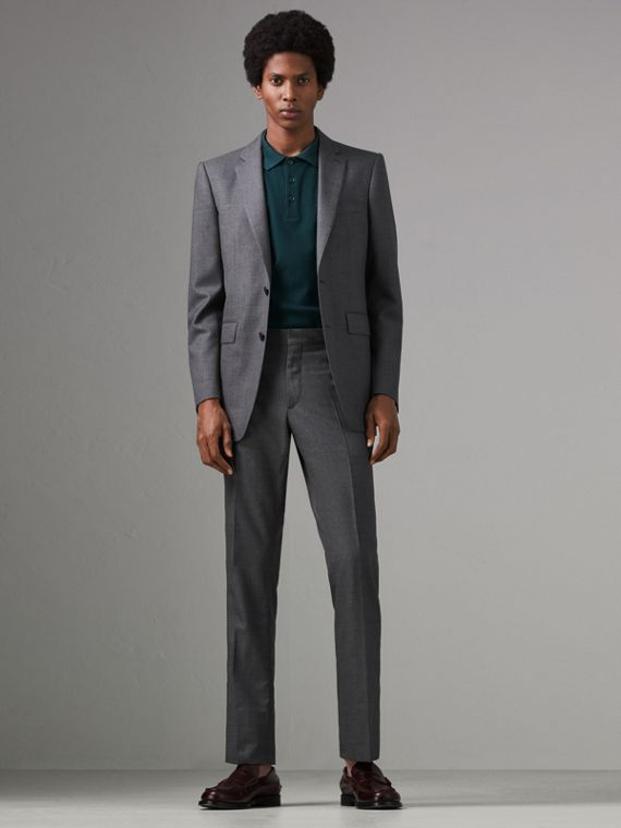 Classic Fit Sharkskin Wool Suit in Mid Grey Melange