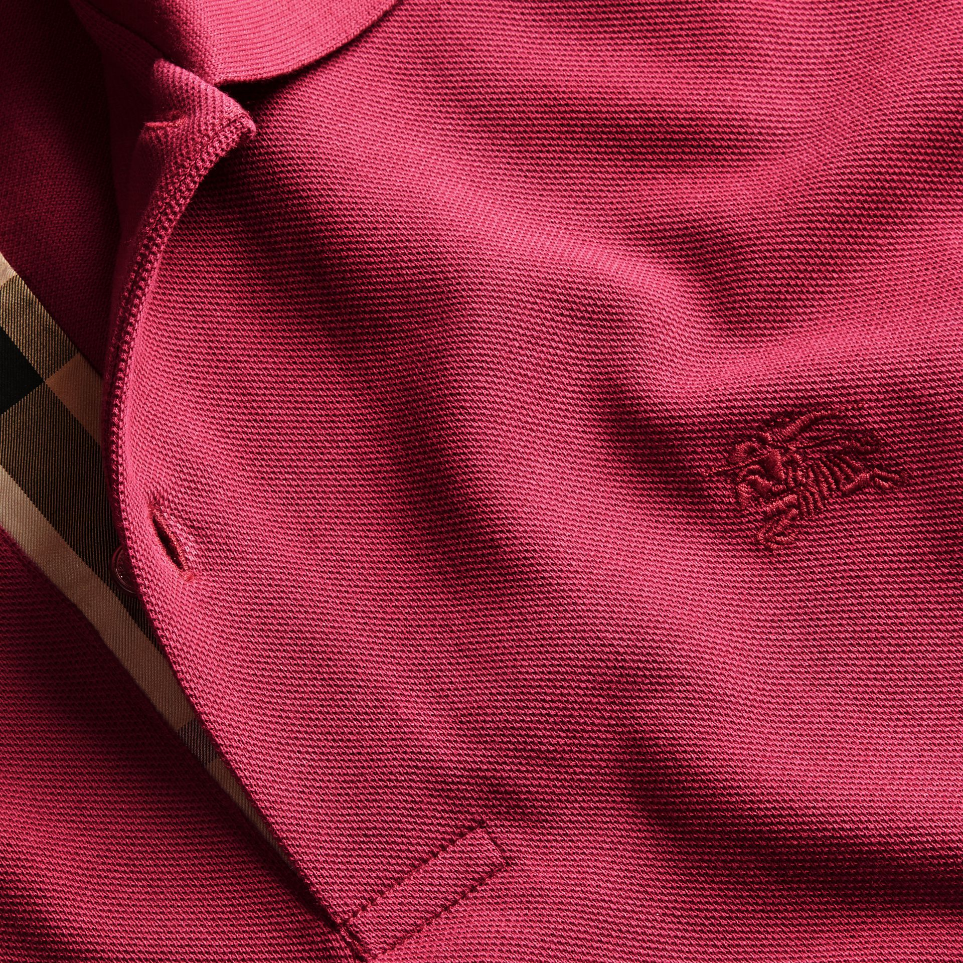 Check Placket Cotton Piqué Polo Shirt Raspberry Sorbet - gallery image 2