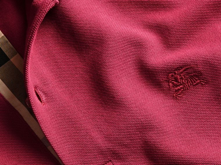 Check Placket Cotton Piqué Polo Shirt in Raspberry Sorbet - Men | Burberry - cell image 1