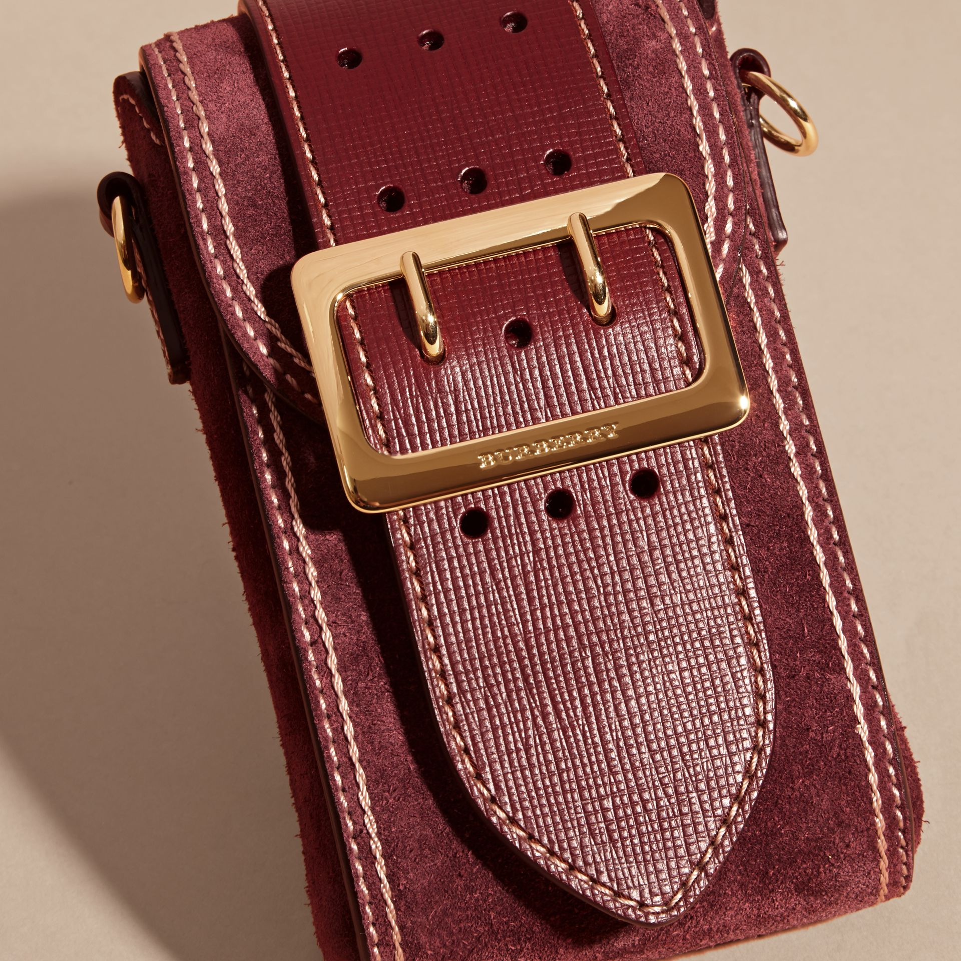Mahogany red The Buckle Bag – Oblong in Suede - gallery image 6