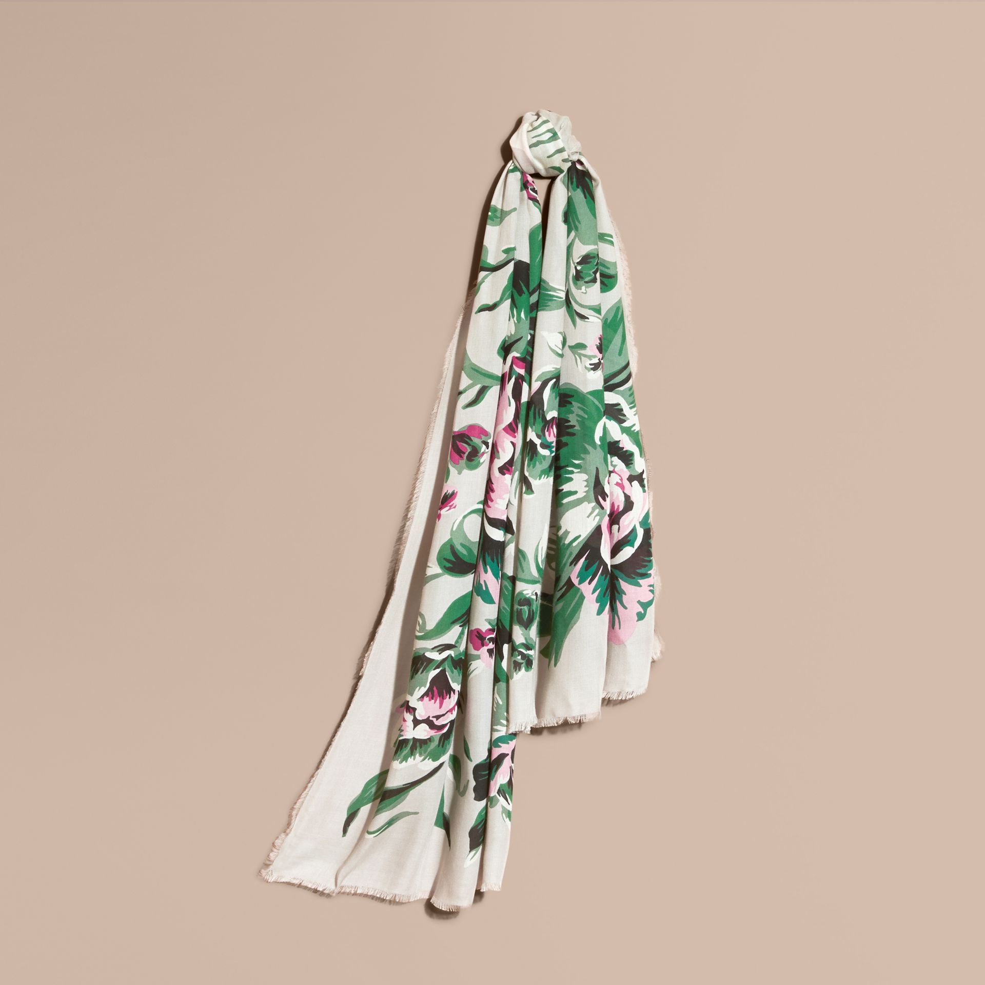 Peony Rose Print Modal and Cashmere Scarf in Emerald Green - gallery image 1