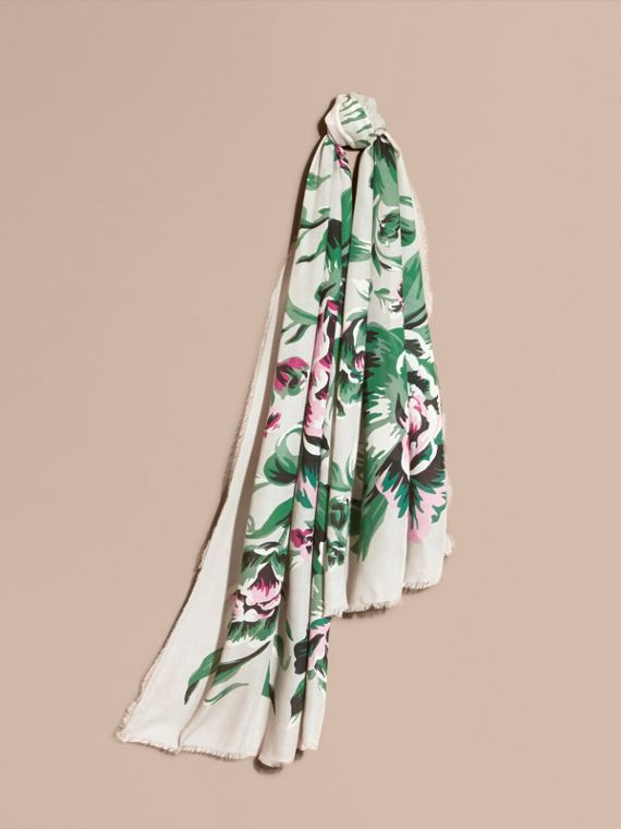 Peony Rose Print Modal and Cashmere Scarf Emerald Green