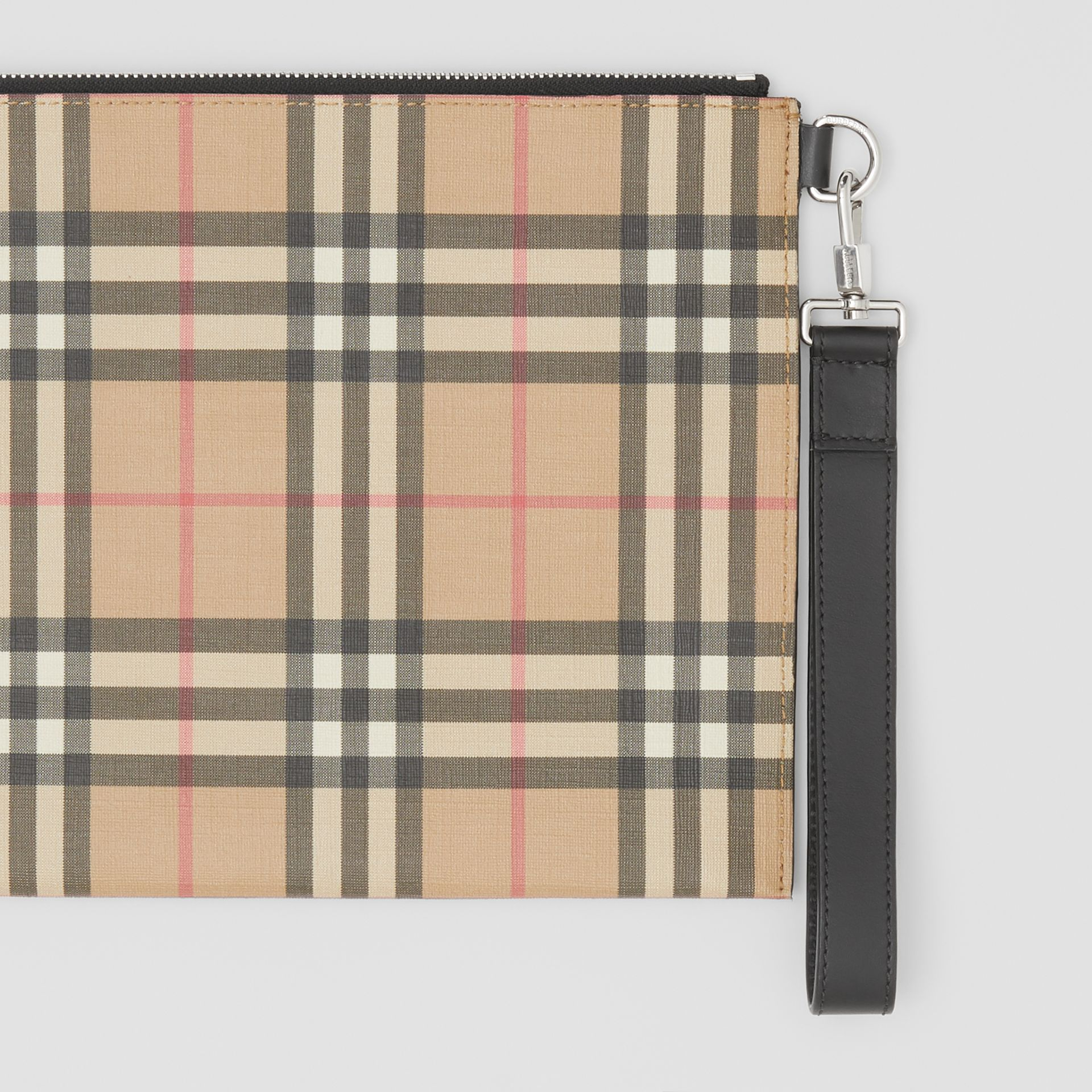 Vintage Check E-canvas and Leather Zip Pouch in Archive Beige - Men | Burberry - gallery image 1