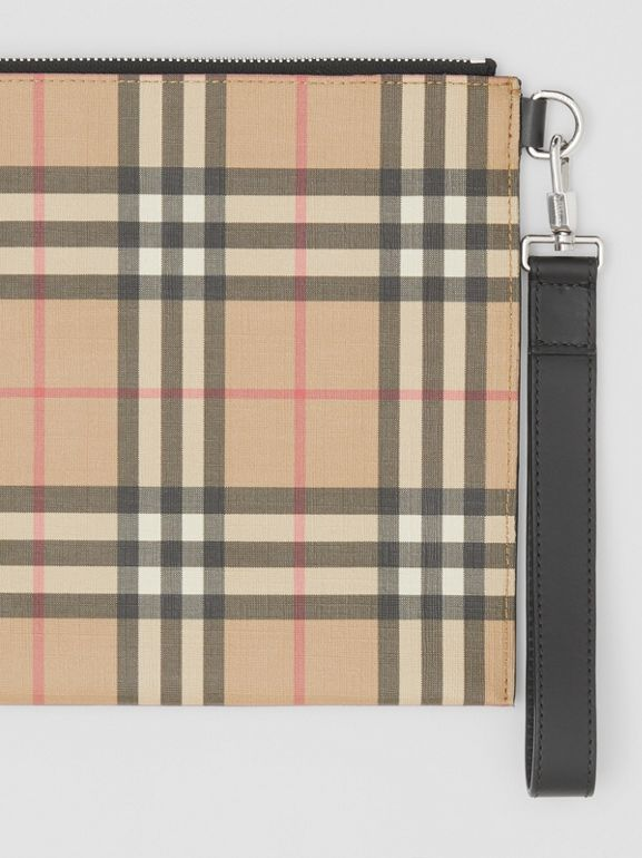 Vintage Check E-canvas and Leather Zip Pouch in Archive Beige - Men | Burberry - cell image 1