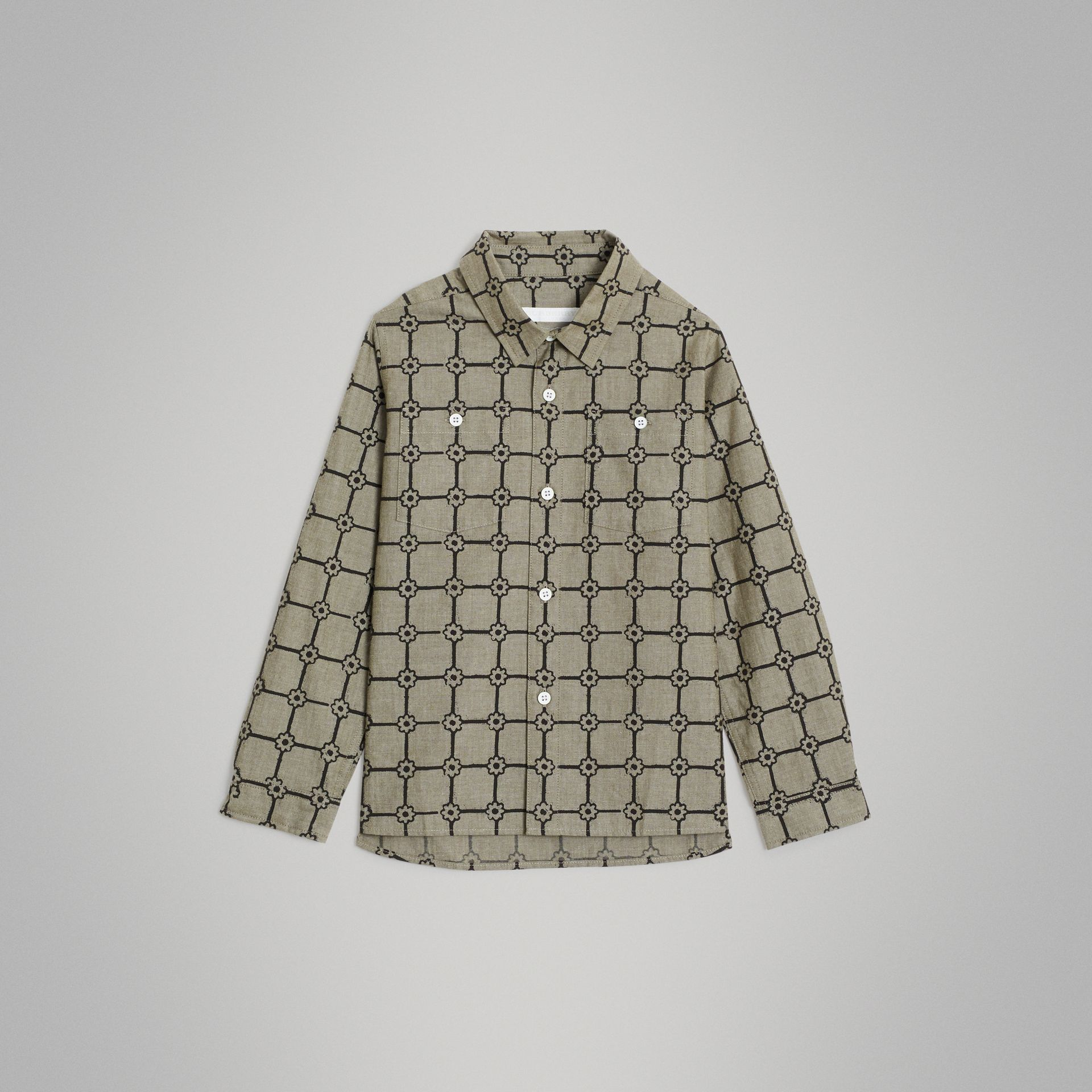 Flower Print Cotton Shirt in Khaki | Burberry - gallery image 0