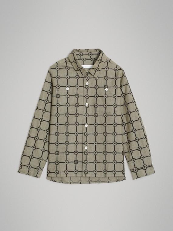 Camisa en algodón con estampado de flores (Caqui)