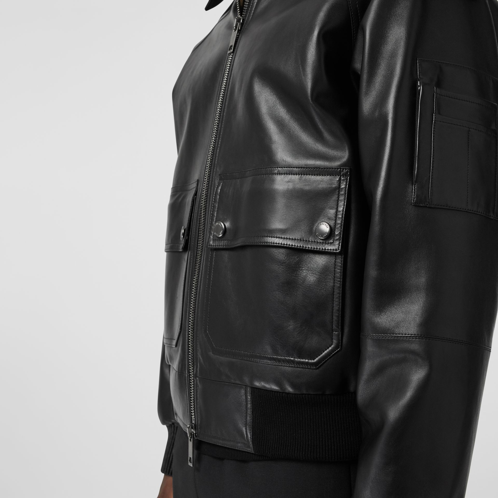 Lambskin Bomber Jacket in Black - Men | Burberry United States - gallery image 1