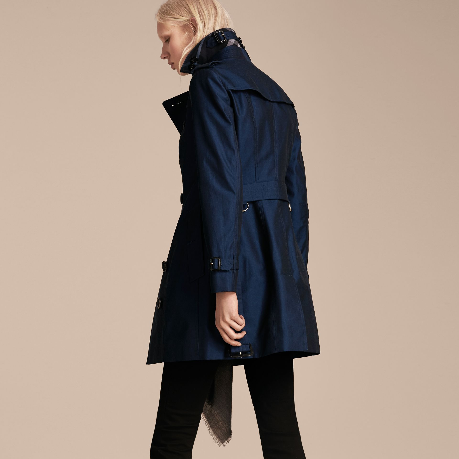 Cotton Gabardine Trench Coat Bright Regency Blue - gallery image 3