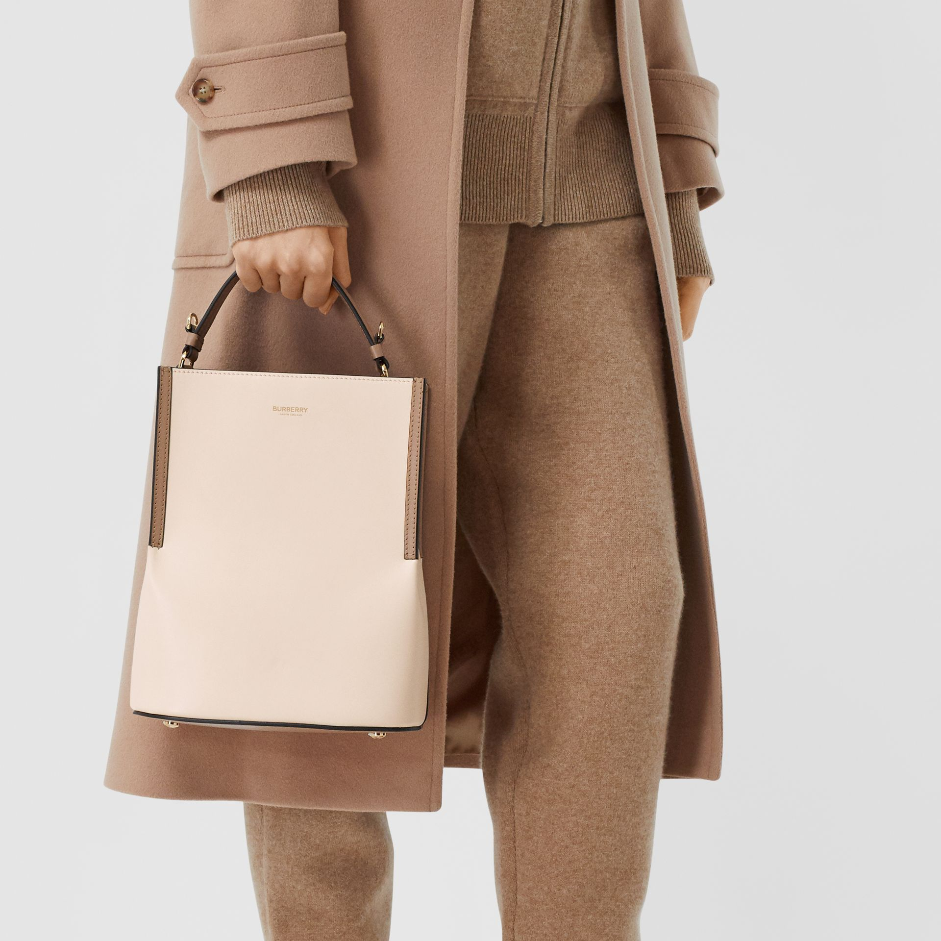 Small Two-tone Leather Peggy Bucket Bag in Buttermilk - Women | Burberry United States - gallery image 2