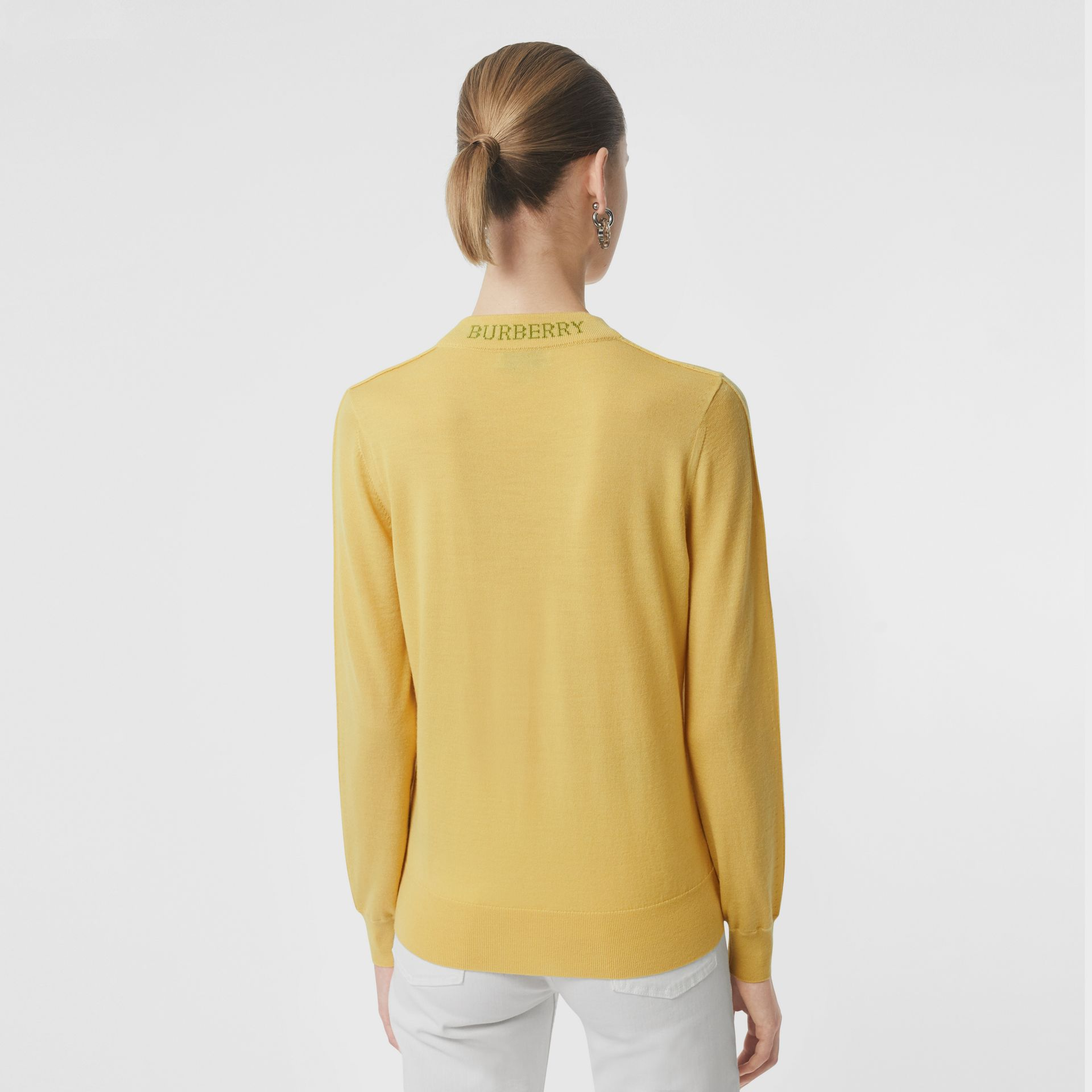 Logo Detail Merino Wool Sweater in Primrose Yellow - Women | Burberry Canada - gallery image 2