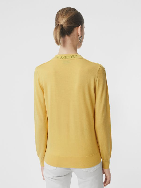 Logo Detail Merino Wool Sweater in Primrose Yellow - Women | Burberry - cell image 2