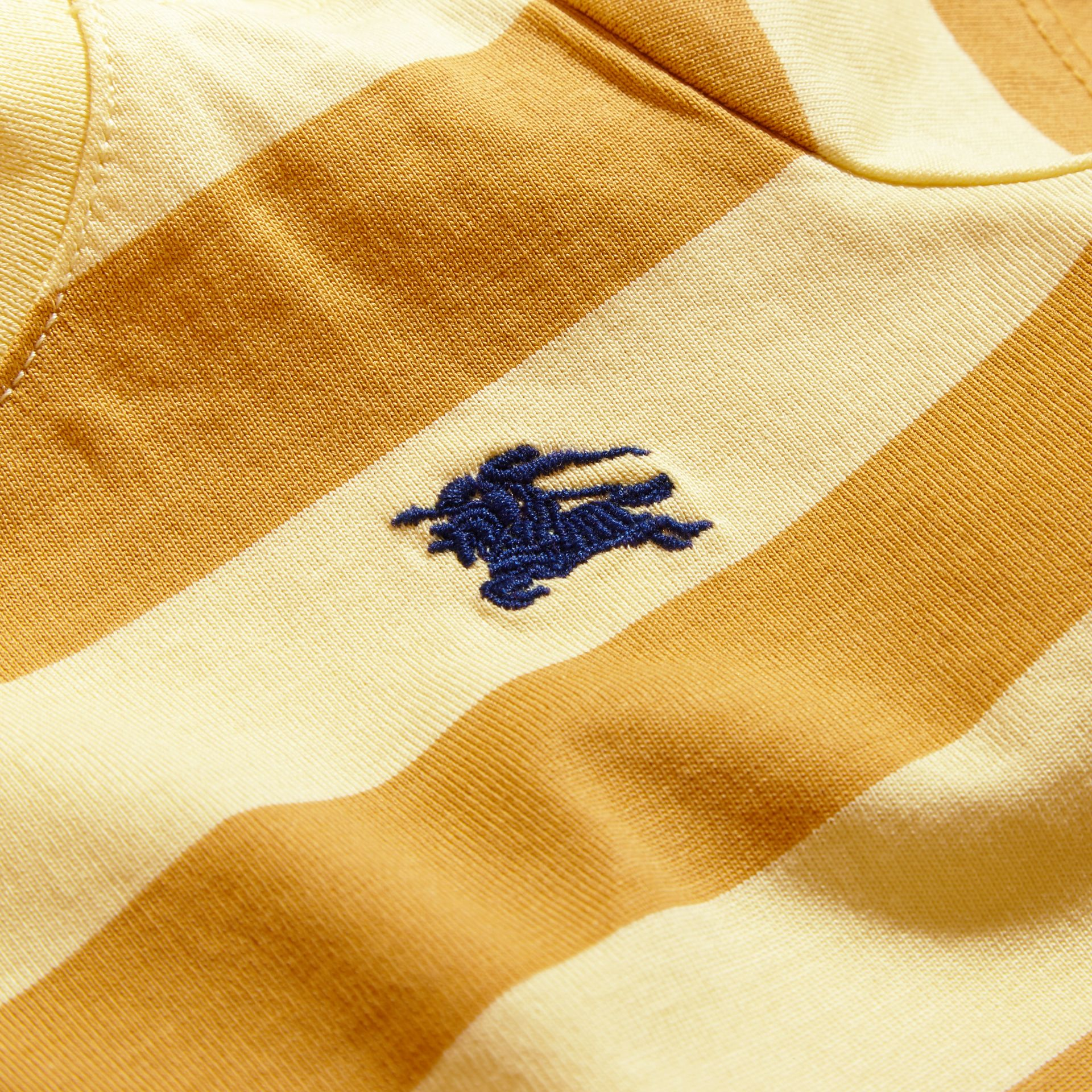 Striped Cotton T-shirt in Pale Yellow/ochre Yellow | Burberry - gallery image 2