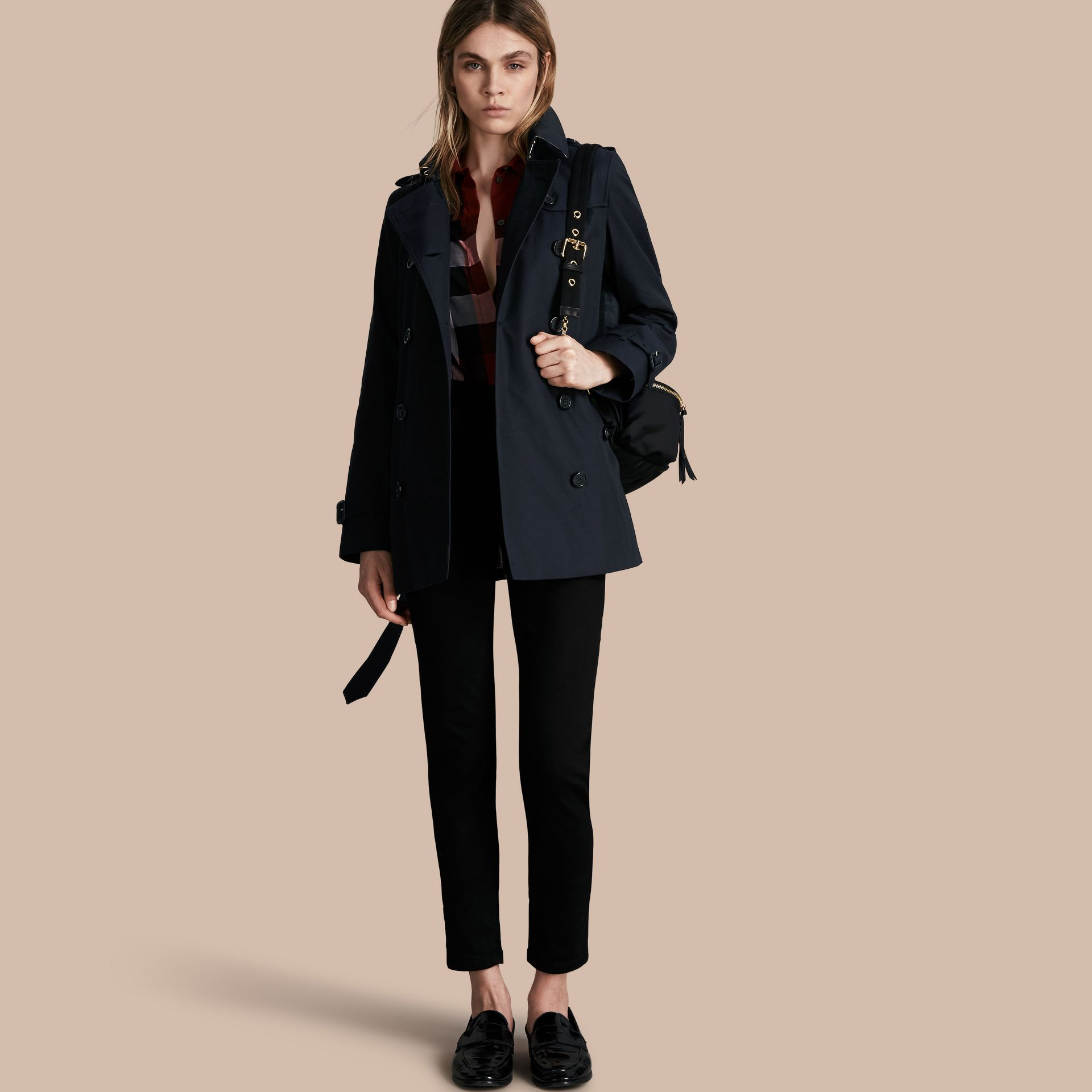 Navy The Kensington – Short Heritage Trench Coat Navy - gallery image 1