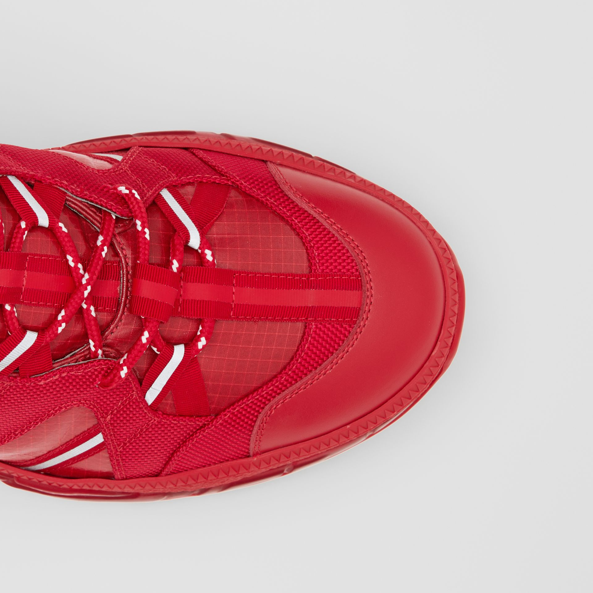 Nylon and Leather Union Sneakers in Bright Red - Women | Burberry - gallery image 4