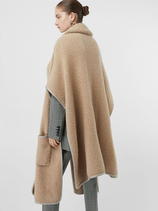 Wool Fleece Cape in Sand - Women | Burberry - cell image 2