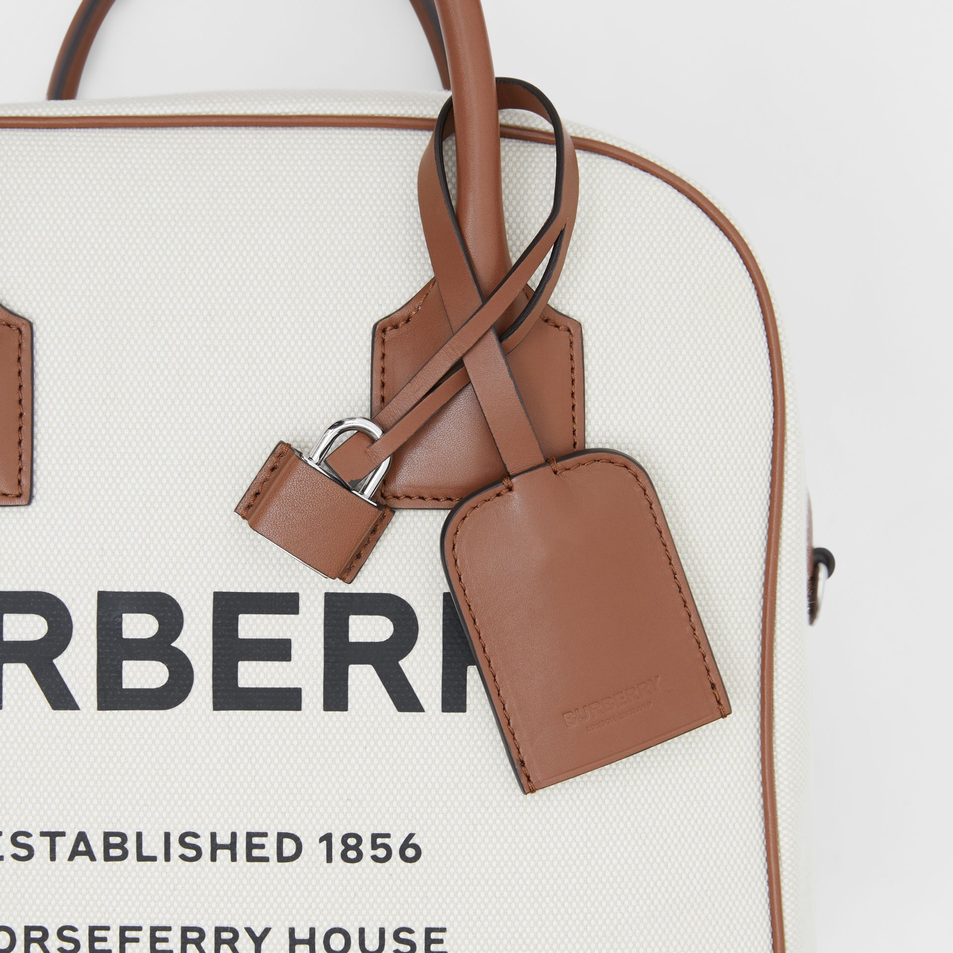 Medium Horseferry Print Canvas Cube Bag in Natural/malt Brown - Women | Burberry Australia - gallery image 9
