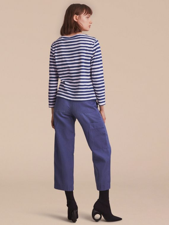 Pallas Heads Print Breton Stripe Jersey Top in Ink Blue/white - Women | Burberry United Kingdom - cell image 2