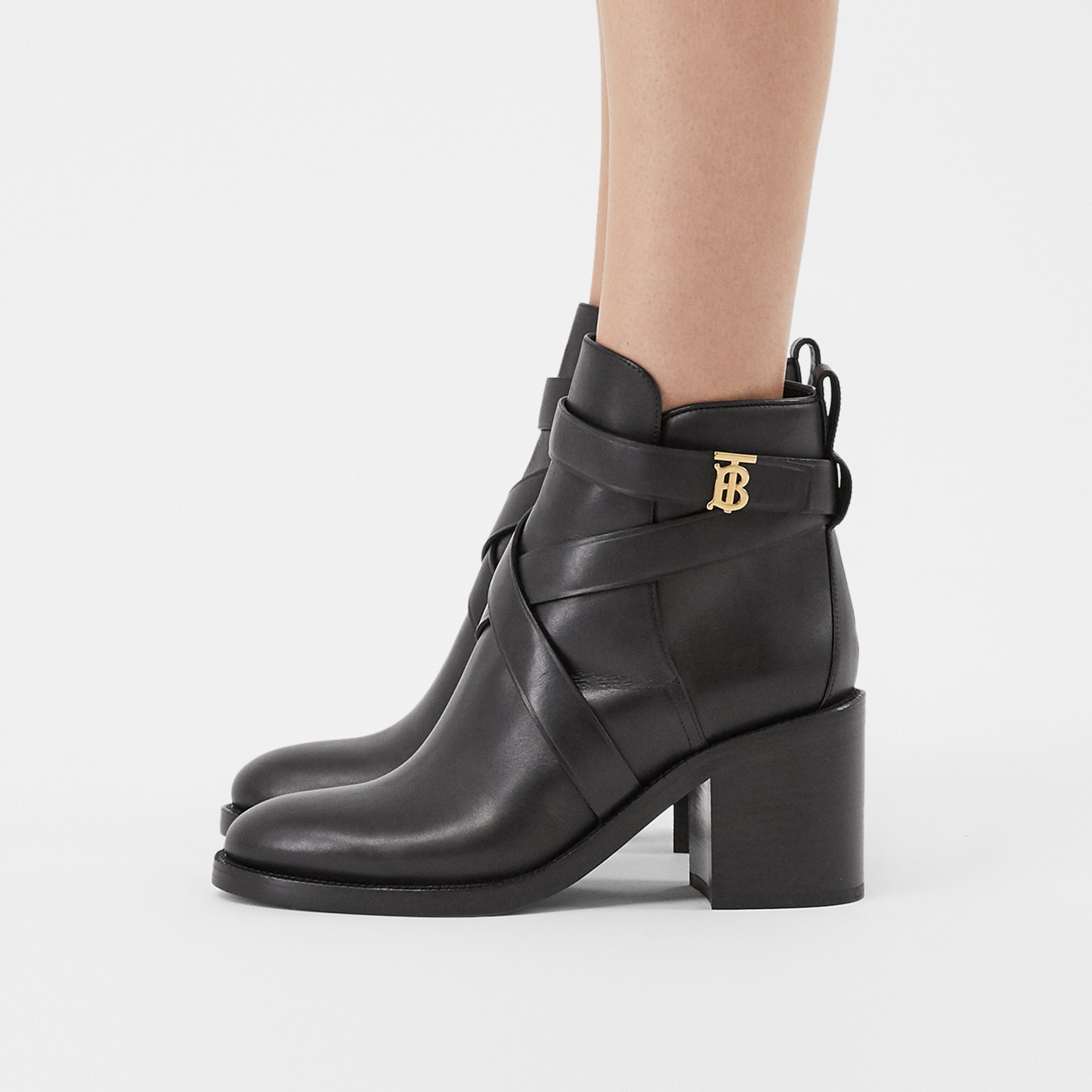 Monogram Motif Leather Ankle Boots in Black - Women | Burberry Australia - 3