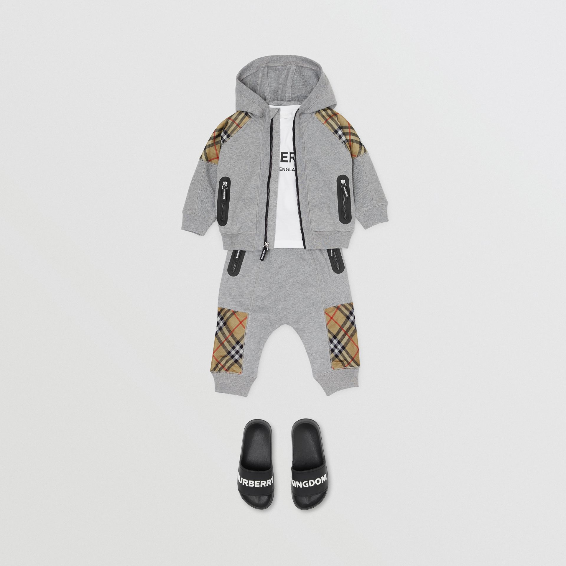 Vintage Check Panel Cotton Hooded Top in Grey Melange - Children | Burberry Australia - gallery image 2