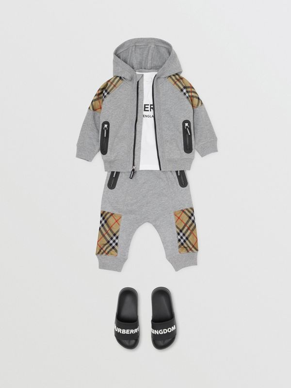 Vintage Check Panel Cotton Hooded Top in Grey Melange - Children | Burberry Australia - cell image 2