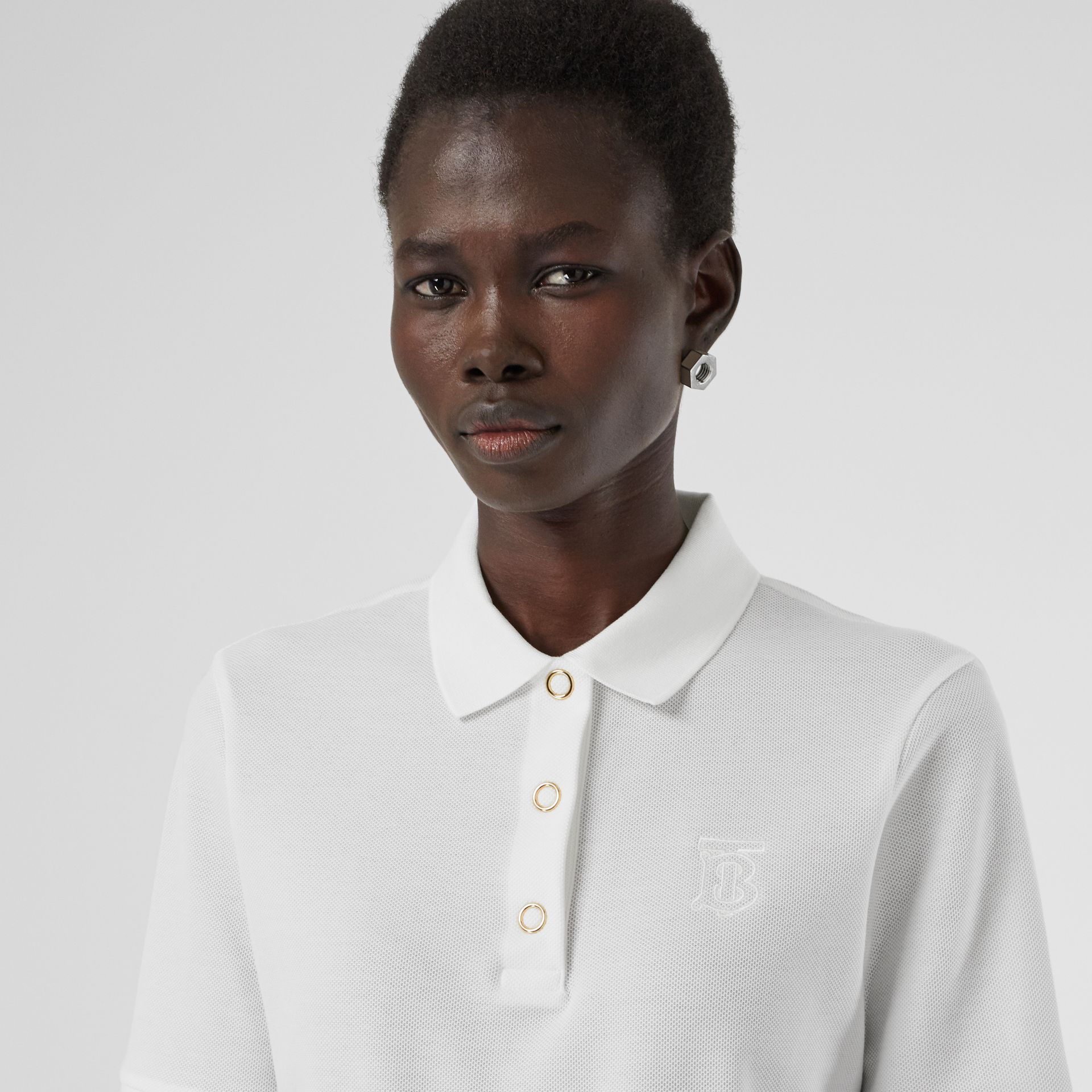 Monogram Motif Cotton Piqué Polo Shirt in White - Women | Burberry - gallery image 1