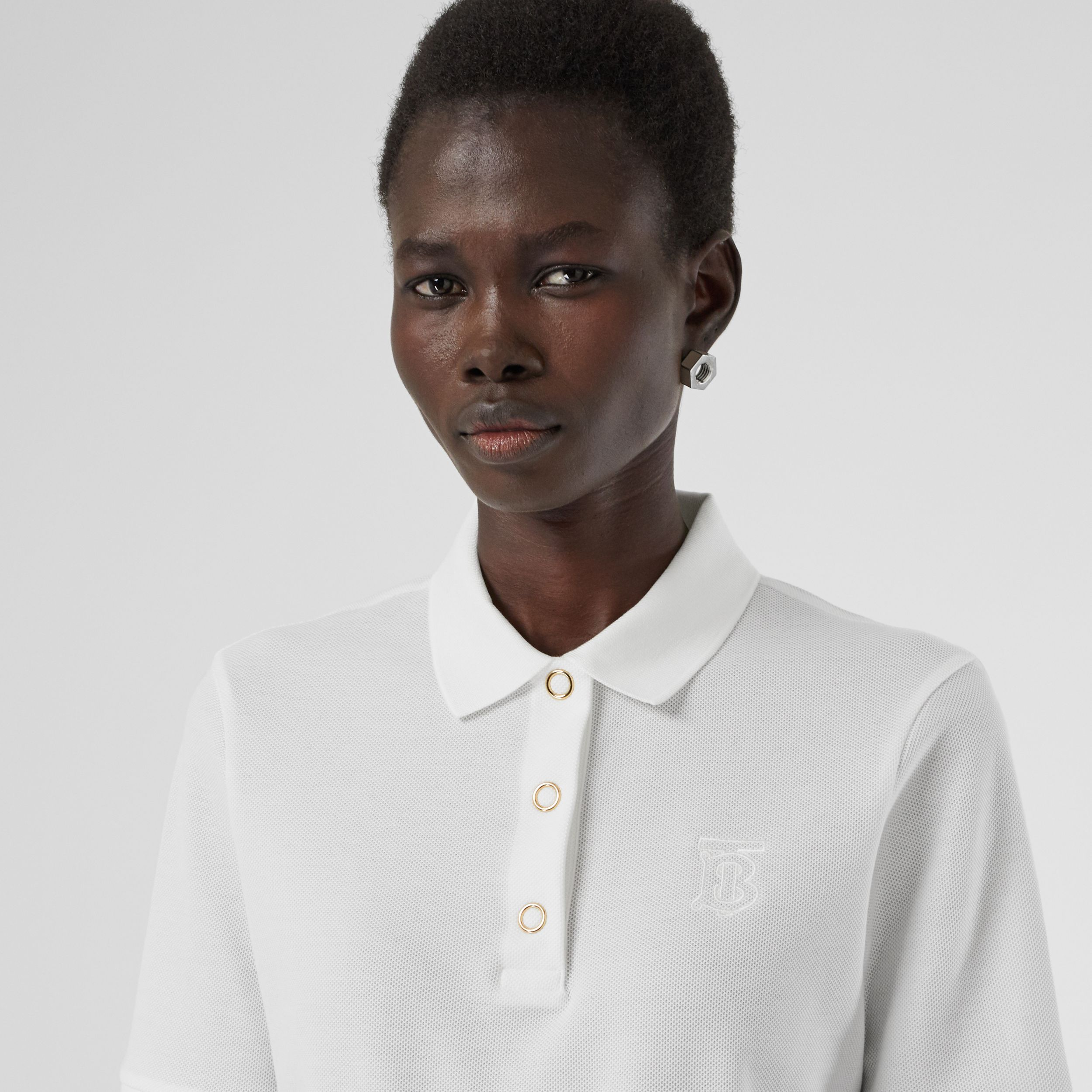 Monogram Motif Cotton Piqué Polo Shirt in White - Women | Burberry - 2