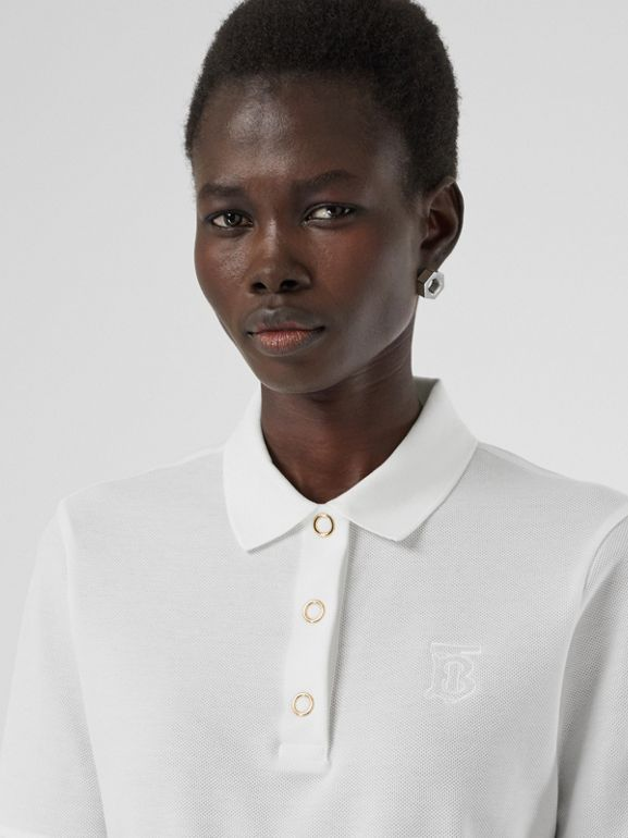 Monogram Motif Cotton Piqué Polo Shirt in White - Women | Burberry - cell image 1