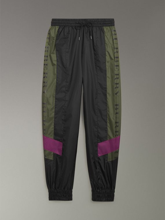 Logo Panel Shell Suit Pants in Black - Men | Burberry United Kingdom - cell image 3