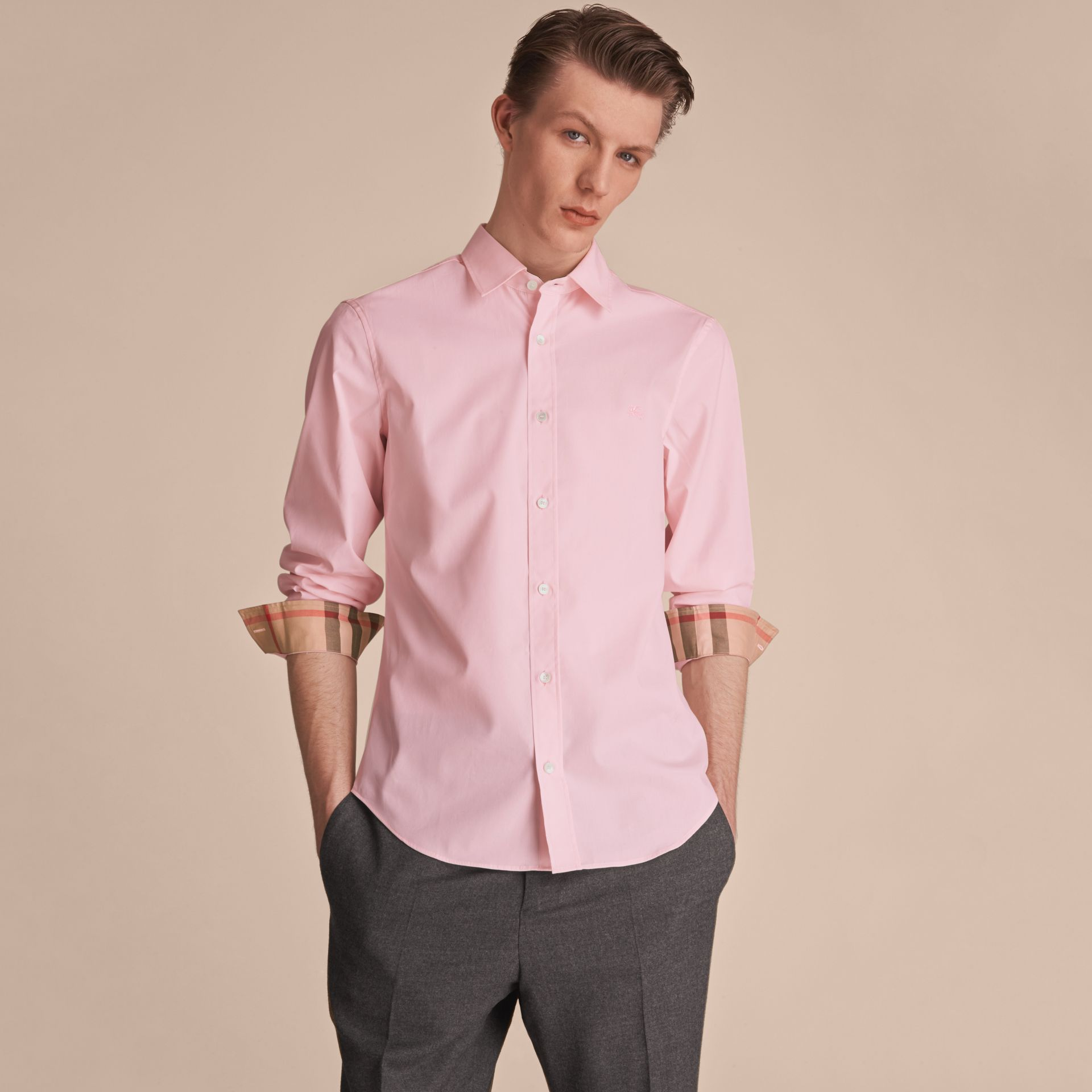 Check Detail Stretch Cotton Poplin Shirt in Pale Pink - Men | Burberry - gallery image 6
