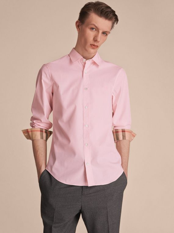 Check Detail Stretch Cotton Poplin Shirt in Pale Pink