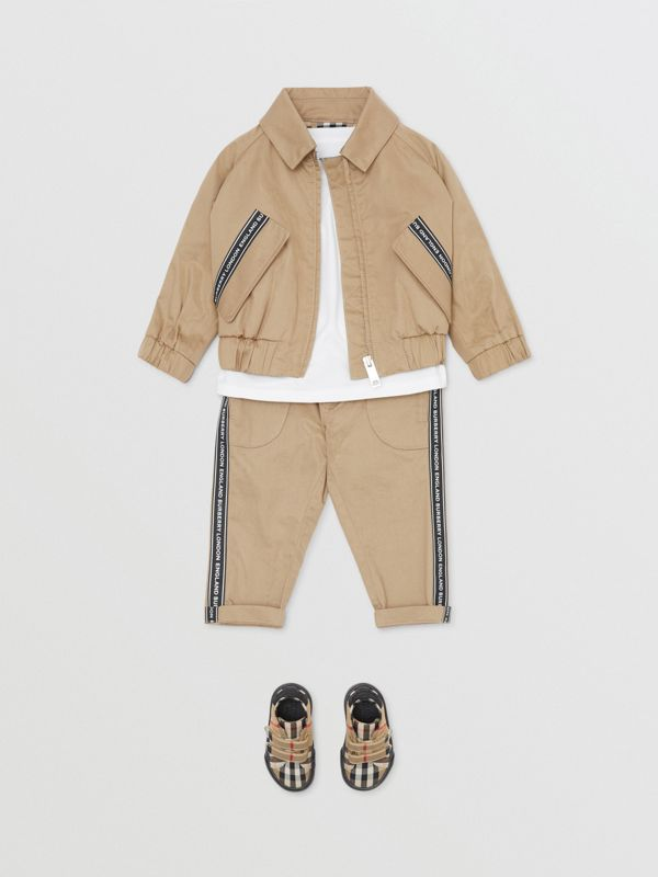 Logo Tape Cotton Harrington Jacket in Honey - Children | Burberry Singapore - cell image 3