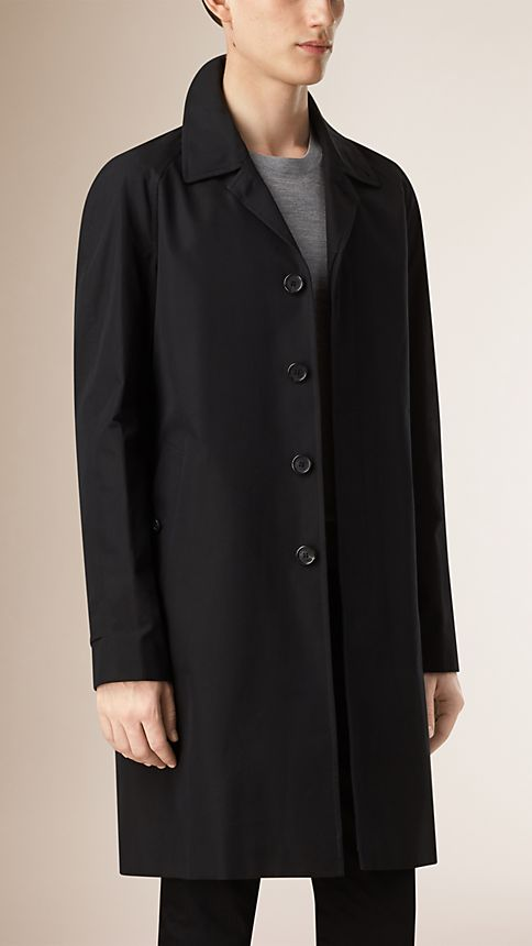 Black Cotton Gabardine Car Coat - Image 1
