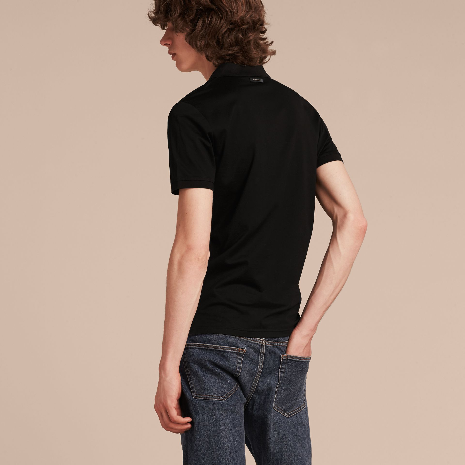 Black Polo militaire en coton Black - photo de la galerie 3