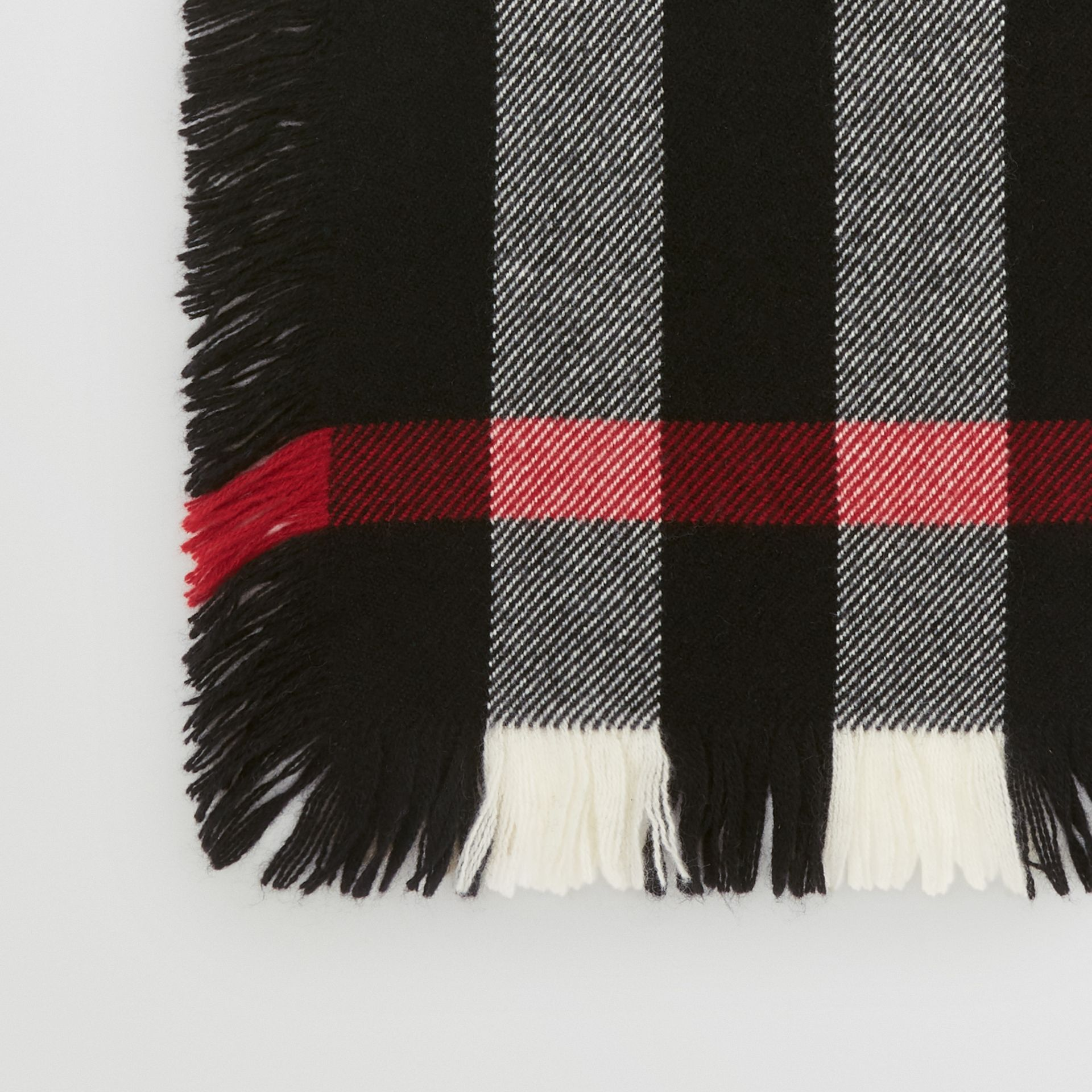 Fringed Check Wool Scarf in Black | Burberry United Kingdom - gallery image 1