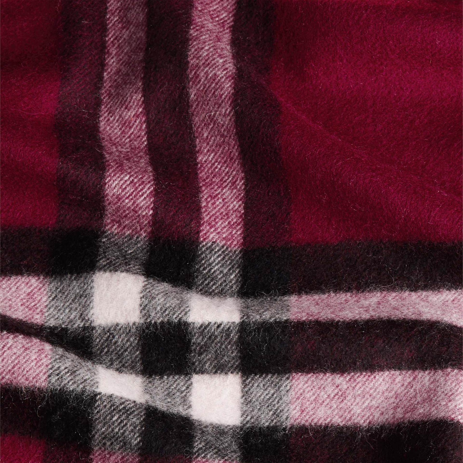 The Classic Cashmere Scarf in Check Plum - gallery image 5